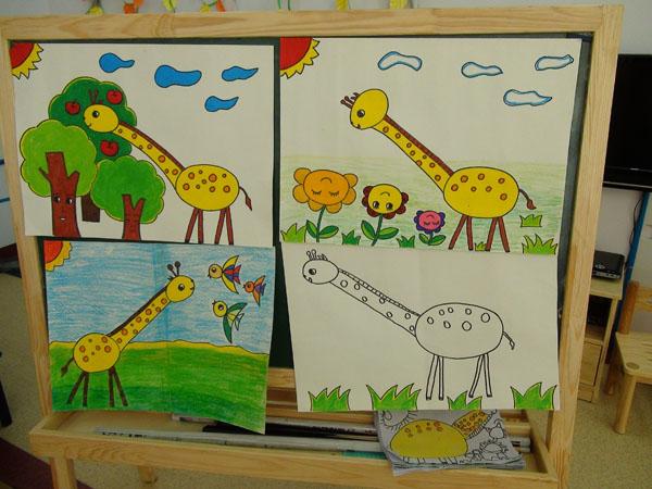 动物园的动物卡通画幼儿园大门卡通画动物园大门
