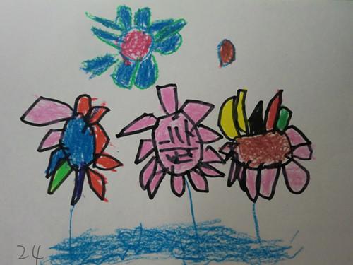 幼儿作品:鲜花送老师