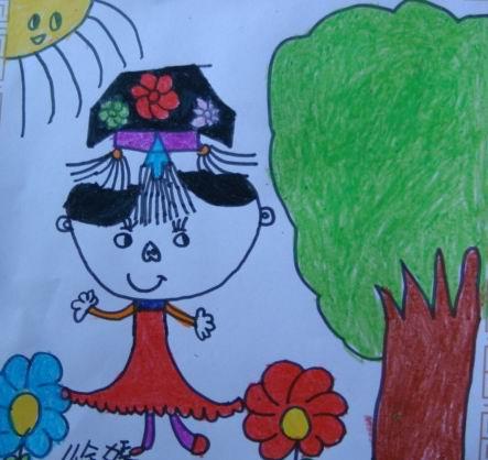 可爱的娃娃幼儿画