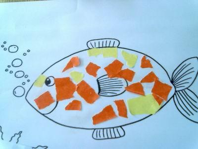 园所主页 特色研究 幼儿作品欣赏  许多小鱼游来了              发布图片