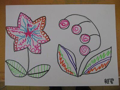 班级主页 毕业班级 毕业大五班2012 幼儿作品 绘画  线描画:花儿朵朵