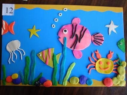 园所主页 班级主页 小三班 亲子游戏  泥工游戏——海底世界