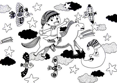 儿童线描画的主要特点就是具有一定的写实性和较强的装饰性,与黑白