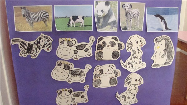 l 用黑色蜡笔为小动物画上斑点或条纹 l 将画完的黑白皮毛的动物和