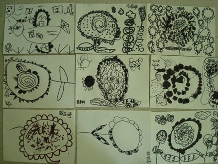 园所主页 班级主页 小二班(上中园) 教育内容  绘画:黑白画——小花
