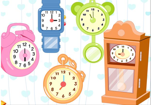 了解时钟构造,学会看整点时间.  2.