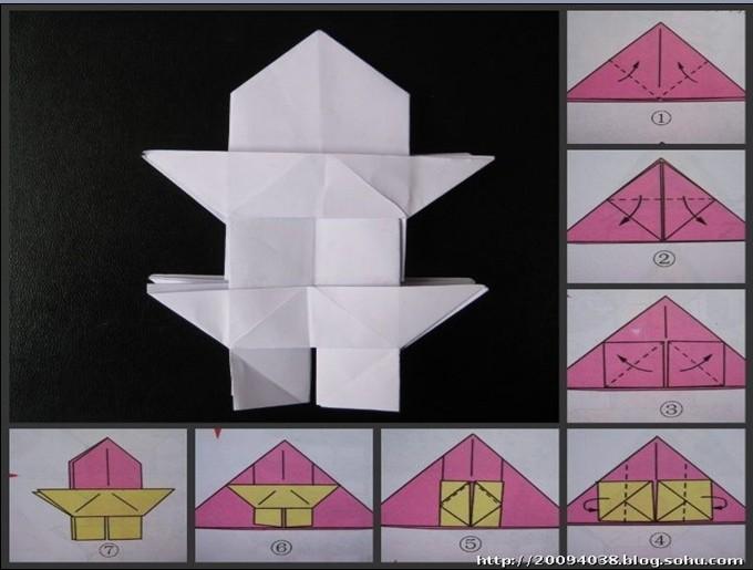 引导幼儿用正方形纸折宝塔,并通过对亭子的粘贴,剪,画或大小组合等