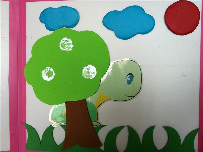 园所主页 宝贝4班 智乐天地  小乌龟把苹果树绑在背上,出发了.