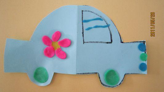 橡皮泥装饰的小车(美术作品)