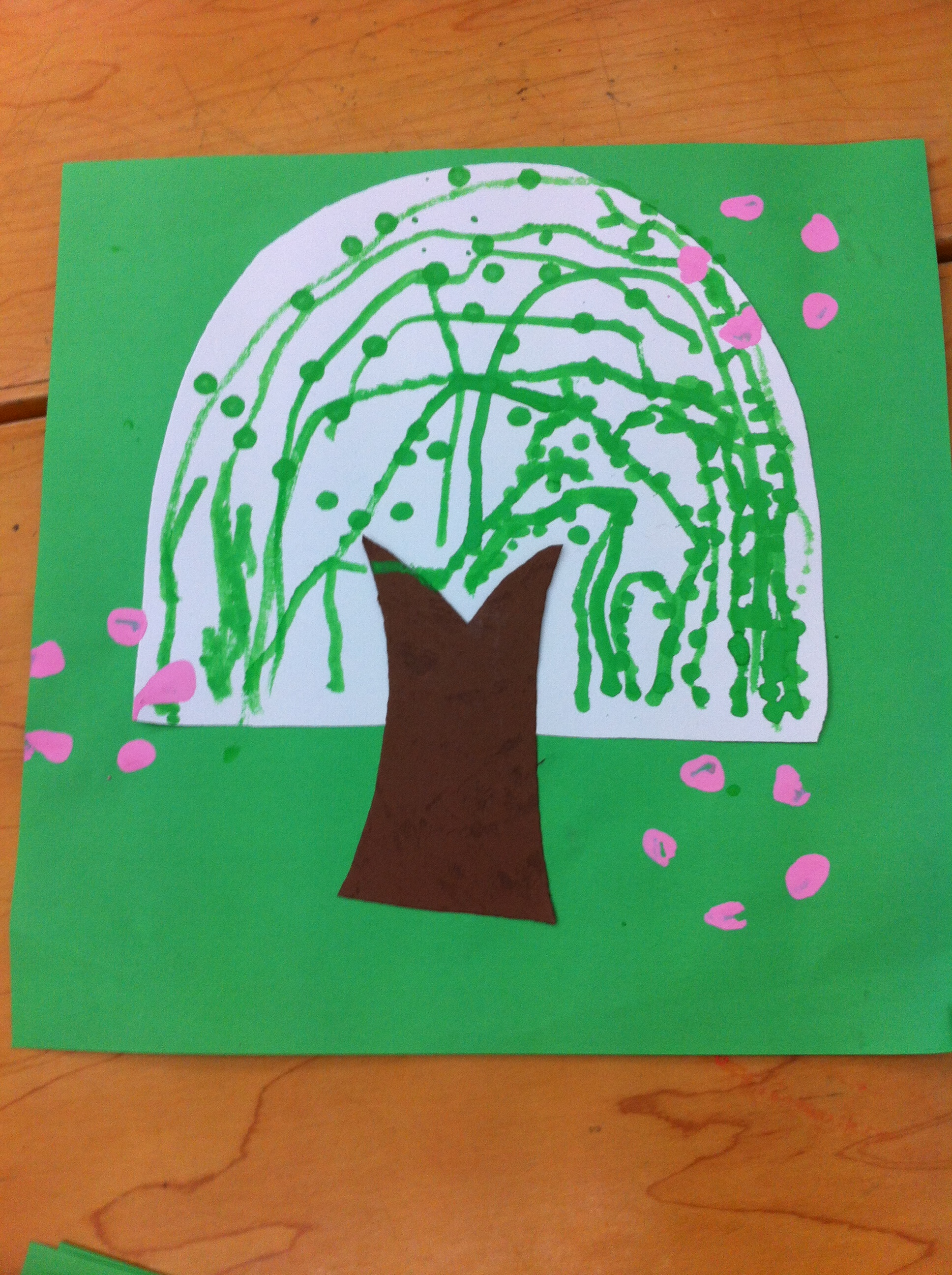 幼儿手工制作柳树图片