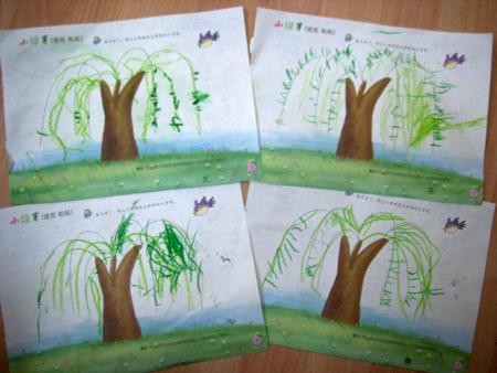 这是宝宝们画的柳树,真不错哎.