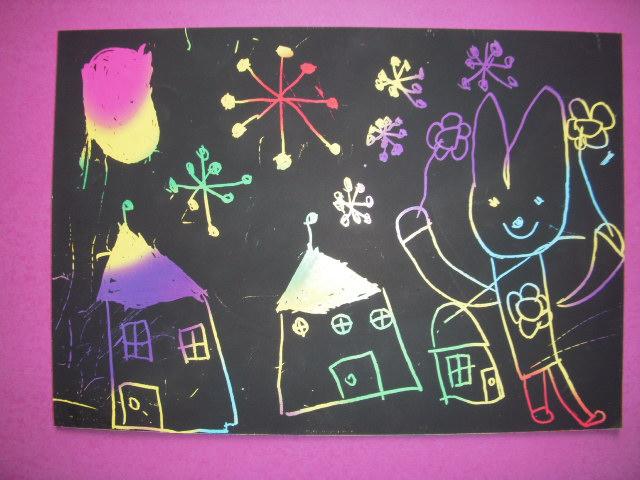 幼儿刮画铁塔图片