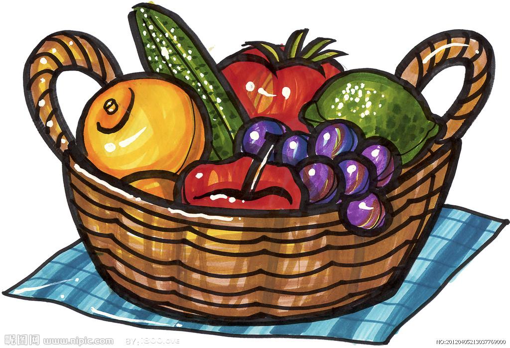 水果篮子可爱简笔画