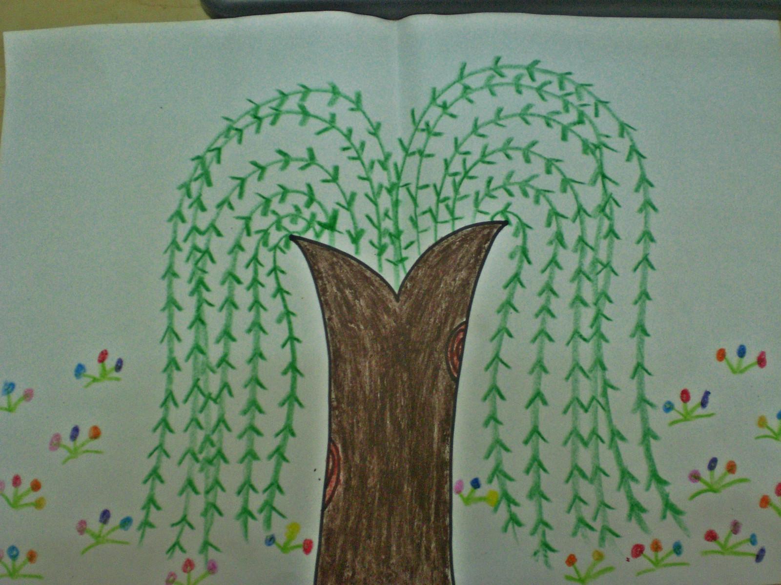 幼儿大班绘画柳树