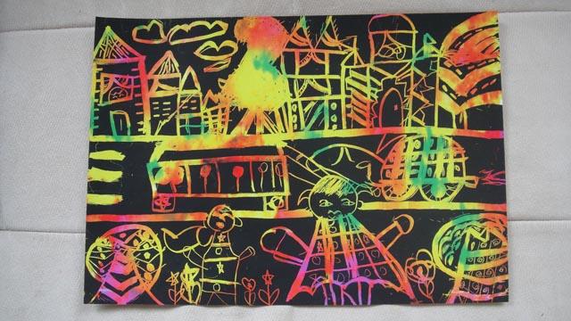 刮蜡画 我们的城市 王静雯