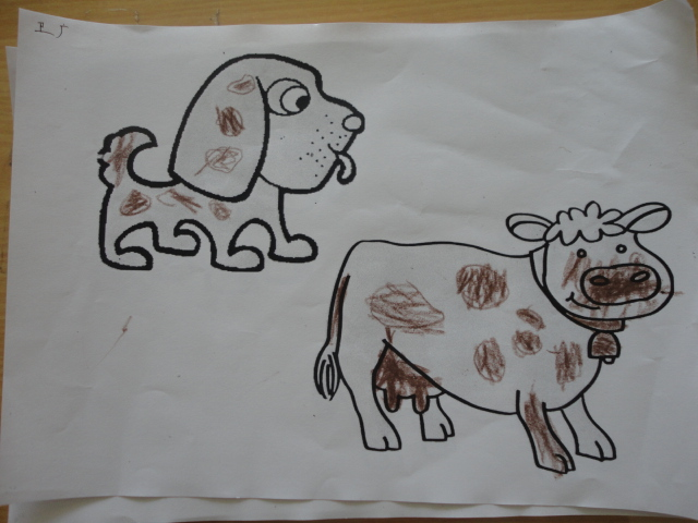 幼儿绘画 黑白皮毛的小动物