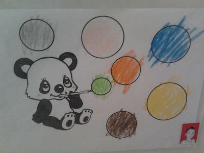 熊猫吹泡泡简笔画;
