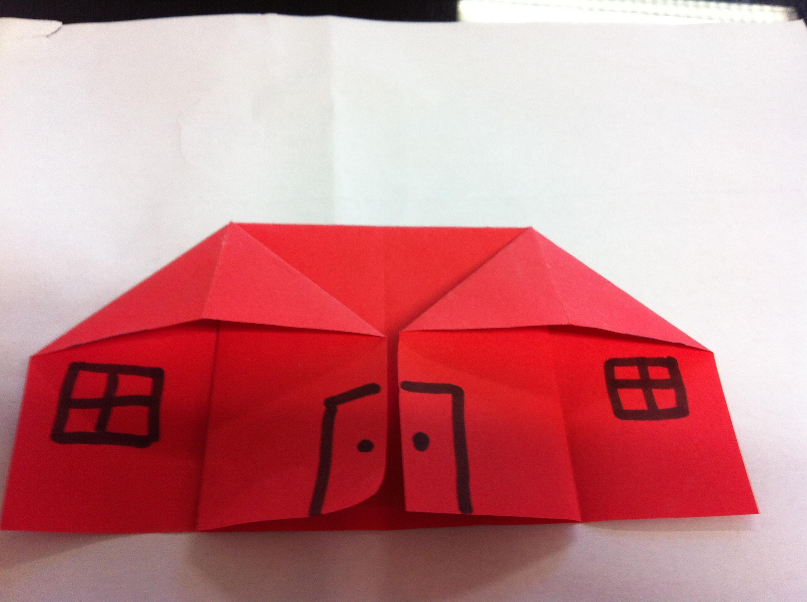 幼儿作品欣赏  上海市维罗纳幼儿园 大一班 折纸小房子