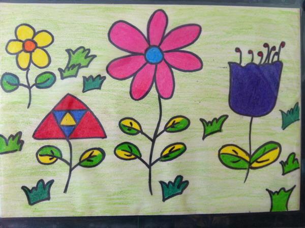 孩子画春天的花