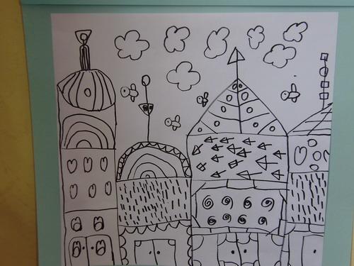 幼儿线描画幼儿园简单线条画大班线描画建筑线描画