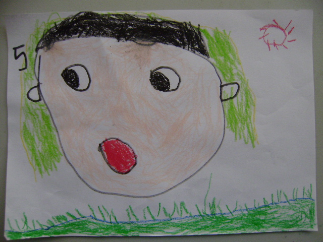 幼儿图形贴画作品 大班幼儿线条画作品 中班幼儿线描画作品