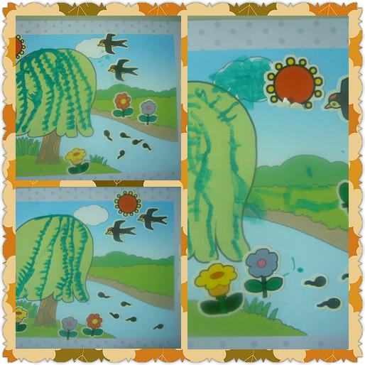 柳树简笔画彩色燕子
