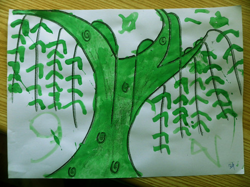 春天的柳树简笔画 春天柳树简笔画图片 (500x375); 幼儿园柳树卡图片