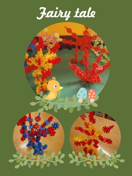 《动物大世界》,让孩子们运用雪花片拼搭出自己喜欢的小动物,由于大班