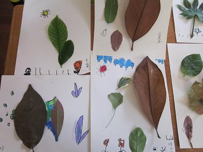 园所主页 班级主页 中2班 儿歌故事  艺术活动:树叶图画4