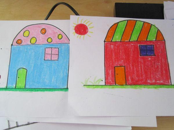 幼儿园涂色房子