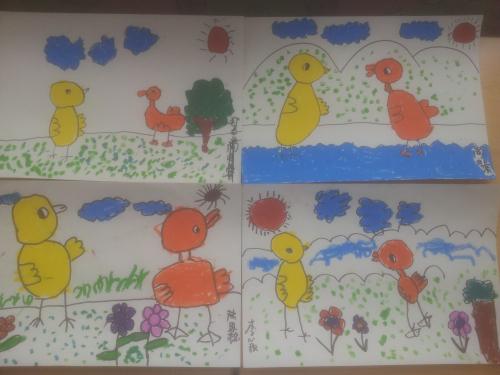 幼儿作品《小鸡小鸭在一起》