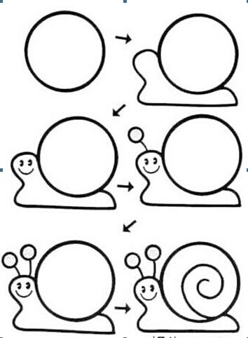 儿童   简笔画   幼儿简笔画蜗牛画法——儿童动物简笔画