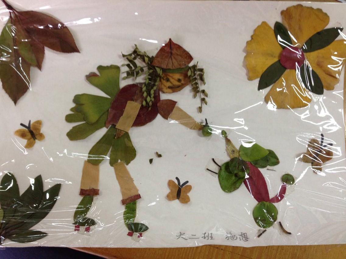 我们用捡来的树叶拼贴最美丽的图画!