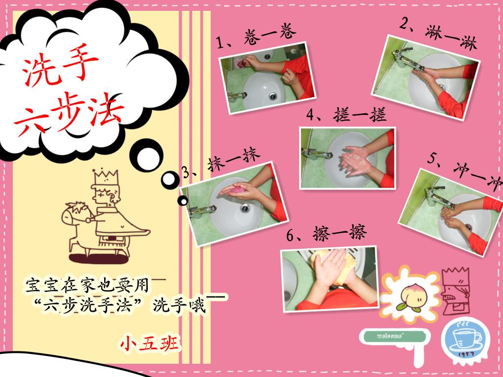 幼儿洗手步骤图卡通图片
