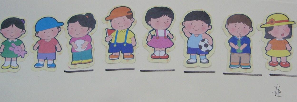 幼儿排队黑白简笔画