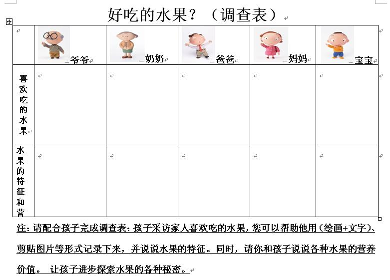 请家长和孩子一起完成这张表格,11月5日带到幼儿园来,我们会组织幼儿
