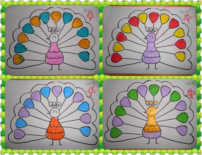 幼儿园孔雀简笔画图片