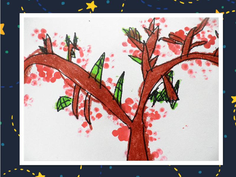 先来画棵桃树, 再来涂上颜色