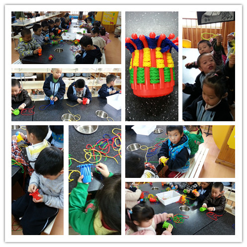 今天,我们来艺术创想室玩啦,我们用绳子编制篮子;用扭扭棒编出眼镜,小
