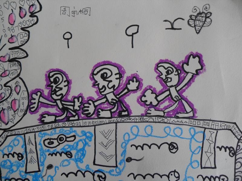 绘画 猴子过桥