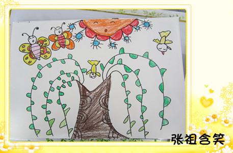 目的:1,感受春天来了,柳树发芽,抽叶的变化,热爱大自然.图片